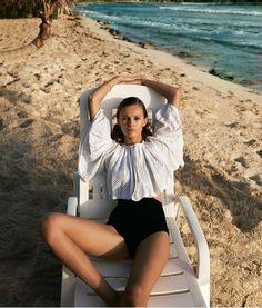 Edita Vilkeviciute for WSJ Magazine, April 2016. Louis Vuitton blouse with Isabel Marant briefs