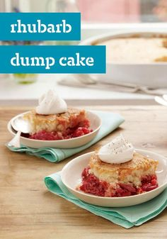 Rhubarb Dump Cake -- What makes this dessert recipe so much better than the old standby? A fresh, juicy filling that celebrates a classic seasonal ingredient--rhubarb!