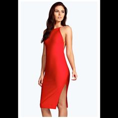Boohoo low back midi bodycon dress Boohoo Red Crepe Bodycon Lowback Dress. Size US 2. Midi length with side slit. Boohoo Dresses Midi