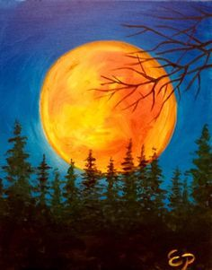 Painting idea. Gorgeous huge golden sun behind the evergreens and tree branches. I love the color on this sun! Or, it could be a huge orange harvest moon. Please also visit www.JustForYouPropheticArt.com for more colorful art you might like to pin. Thanks for looking!