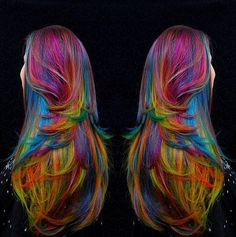 Technicolor Tresses // Sand Art Rainbow Hair Color Ideas