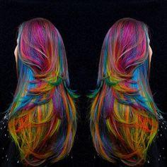 If I had to dye my hair I'd pick all of the colors too LOL Pelo Multicolor, Hair Shears, Crazy Hair Days, Corte Y Color, Love Your Hair, Unicorn Hair, Wild Hair, Mermaid Hair, Dream Hair