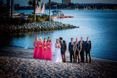 The bridal party enjoying a little sand between their toes!