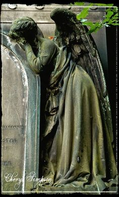 Think, In mounting higher, The angels would press on us, and aspire To drop some golden orb of perfect song Into our deep, dear silence. Cemetery Angels, Cemetery Statues, Cemetery Headstones, Old Cemeteries, Cemetery Art, Angel Statues, Graveyards, Monuments, Cthulhu