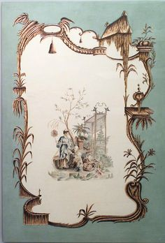 French Louis XV style (20th Century) oil on canvas celadon painting of Chinoiserie genre scenes in the style of Jean Pillement