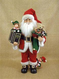 Karen Didion Night Before Christmas Story Telling Santa Claus w Elves.  This Santa is 28 inches tall.  Great collectible  Santa Claus figurine.  #SantaClaus  #ChristmasDecor  #Gift  #TreasureJourneys #Santa