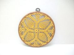 Embroidery Hoop Art handmade lace house by MyDreamCrochets, via Etsy.