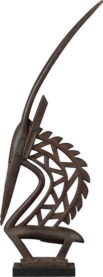 Bamana Chi Wara (Male Vertical Antelope) Headdress, Mali http://www.imodara.com/post/96464607469/mali-bamana-chi-wara-antelope-headdress