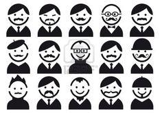 Man hoofden met snorren, illustratie van mensen icon set Stockfoto