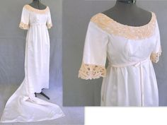Vintage 1960's White Wedding Dress with Detachable Train, Modern Size 6 - 8, Small