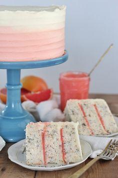 Grapefruit Poppy Seed Cake (Cake by Courtney) Grapefruit Cake, Grapefruit Recipes, Baking Recipes, Cake Recipes, Dessert Recipes, Just Desserts, Delicious Desserts, French Desserts, Poppy Seed Cake