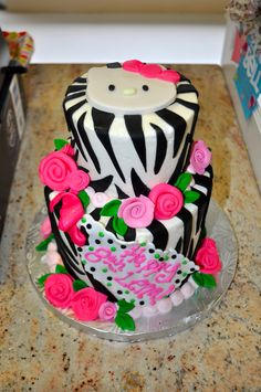 Hello Kitty Zebra Pink Birthday Cake  www.leahssweettreats.com