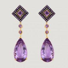 Teardrop Shape Vermeil Drop Earrings With Amethyst & Rose Cut Diamond.