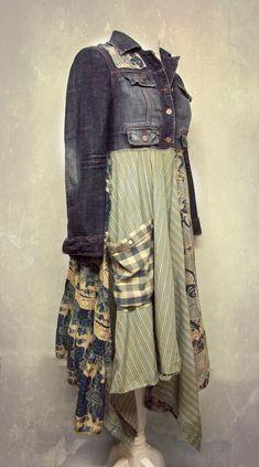e0ef0ef5 Long Denim Duster, Long Hippie Jacket, Long Boho Duster, Long Bohemian  Jacket, Bohemian Clothing, Upcycled Clothing