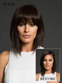 Copper Layered Bob with Bangs - 50 Classy Short Bob Haircuts and Hairstyles with Bangs - The Trending Hairstyle Short Hair With Bangs, Short Straight Hair, Haircuts With Bangs, Short Hair Cuts, Medium Bob With Bangs, Choppy Bob Haircuts, Bob Hairstyles For Fine Hair, Trending Hairstyles, Full Fringe Hairstyles