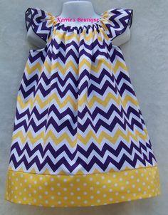 LSU CHEVRON Custom Dress / LSU Baby / Purple & Gold / Tigers/ Football / Game Day / Infant / Toddler / Kid / Girl / Custom Boutique Clothing