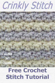 Crochet Crinkly Stitch Tutorial Learn a new stitch with this free crochet crinkle stitch tutorial is available in USA and UK formats, just click the picture and scroll down the page. Baby Blanket Crochet, Crochet Baby, Free Crochet, Knit Crochet, Crochet Granny, Crochet Blankets, Crochet Stitches Patterns, Crochet Patterns For Beginners, Stitch Patterns