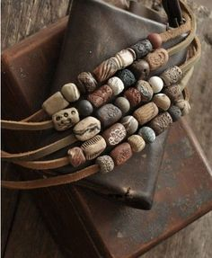 Clay Bead Leather Necklace