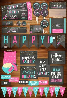 Printable Chalkboard Sleepover Party Package Decorations | Ticket Invitation | Girls Slumber Party | Sweet Dreams | Mystery Party | Teenage or Tween Party | Movie Night Birthday Party Decor | Banner | Food Labels | Photo Props | Signs | Cupcake Toppers | Favor Tags and More! | www.dazzleexpressions.com