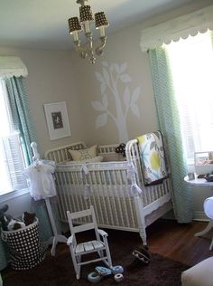 I love everything about this room! #jennylind #tree_mural #nursery