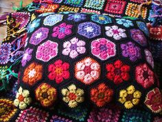 African flower crochet cushion by Ruthiejoy, via Flickr