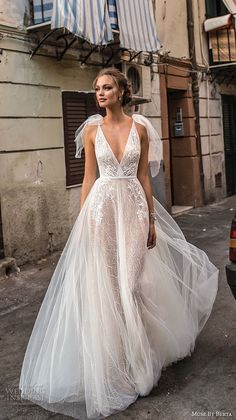Muse by Berta 2018 Wedding Dresses — Sicily Bridal Campaign muse berta 2018 bridal sleeveless deep v neck heavily embellished bodice tulle skirt romantic a line wedding dress open back sweep train mv — Muse by Berta 2018 Wedding Dresses - Wedding Dresses 2018, Bridal Dresses, Mermaid Dresses, Prom Dresses, Muse By Berta, Sicily Wedding, Dresses Elegant, Berta Bridal, Dream Dress