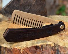 Wooden Folding Comb Men Grooming kit Beard care by EnjoyTheWood