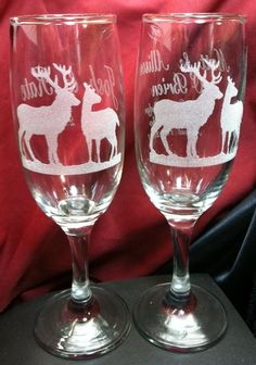 Hunting or Deer Buck Doe, Wedding Champagne Flutes or Wine Glasses Engraved