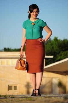 Poema blouse, vintage skirt