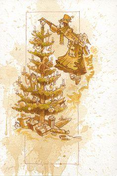 Happy Christmas Painting  - Happy Christmas Fine Art Print