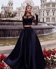 Two Pieces Black Prom Dress Dresses For Event Evening Dress Formal Gown Graduation Party Dress Two Pieces Black Prom Dress Dresses For Event Evening Dress Formal Gown Graduation Party Dress Prom Dresses For Teens, Grad Dresses, Black Prom Dresses, Formal Evening Dresses, Formal Gowns, Pretty Dresses, Sexy Dresses, Homecoming Dresses, Beautiful Dresses