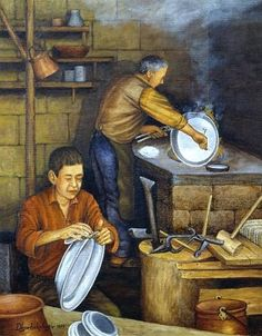 """Tinner and apprentice"" 1999 by painter Mehmet Ali Diyarbakırlıoğlu Your Paintings, Beautiful Paintings, Original Paintings, Oriental People, Composition Art, Old Egypt, Turkish Art, Arabic Art, Naive Art"