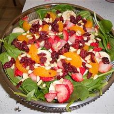 The Perfect Sunday Brunch Spinach Salad     I like to also add fresh kiwi and a little bit of coconut
