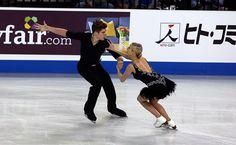 Anna Yanovskaya and Sergey Mozgov of Russia- ice dance Skate America ISU Grand Prix on October 24, 2015 in Milwaukee