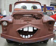 Life size print of the 'Cars' character. Strange Cars, Weird Cars, Wrap Advertising, Tow Mater, Interactive Walls, Digital Printer, Cute Cars, Batmobile, Car Wrap