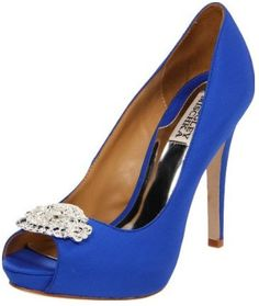 "Badgley Mischka Goodie Bridal Shoes Royal Blue  $245.00  ""Bold and beautiful Royal Blue peep toe pumps are the perfect addition for any bride looking for some color pop. The classic pump style features a covered platform design and delicately designed crystal brooch at the toe. The 4 1/2"" heel is complimented with a 1/2"" platform for balance and comfort. Available in Royal Blue silk."""