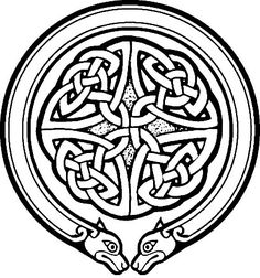 Celtic round ornament with lion heads