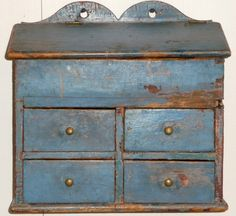 Blue Painted Hanging Spice Chest