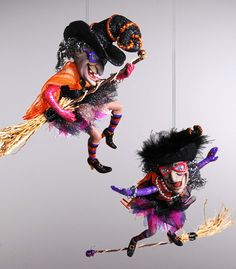 """Katherine's Collection Candy Halloween Set Four Assorted 6"""""""" Witch Ornaments Free Ship-In Stock"""
