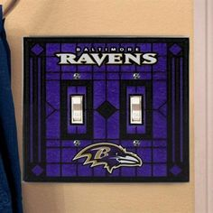 Baltimore Ravens Art-Glass Double Switch Plate Cover
