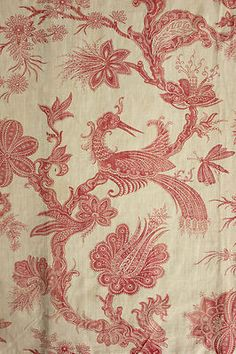 Antique faded Indienne design fabric , French design at its best! ~ Ideal for any period interior ~