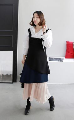 Get this look: http://lb.nu/look/8603319  More looks by Miamiyu K: http://lb.nu/miamiyu  Items in this look:  Miamasvin Color Blocked Tiered Pinafore Dress, Miamasvin Square Toe Chunky Heels   #winterfashion #koreanfashion #chic #streetstyle