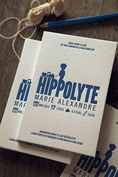 Faire-part de naissance Hippolyte / letterpress birth announcement printed by Cocorico Letterpress