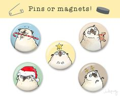 Pug stocking stuffer? Cute Christmas decor? Or a little wearable holiday flair? These Christmas pugs will get you festive! Choose magnet or pin backing from the drop-down menu when ordering.  Black pug version here: https://www.etsy.com/listing/470438058 Create your own mix & match set of pins/magnets: http://etsy.me/1QnfYzx More pins & magnet designs here: http://etsy.me/1JNDoNd  Details: Set of 5 handmade 1-1/4 refrigerator magnets OR pinback buttons Includes one of each magnet design…