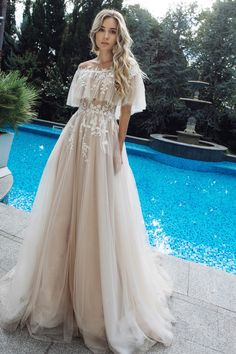 Appliques Off-the-shoulder A-line Wedding Dress Casual Wedding Dresses With Sleeves & White Wedding Gowns on Cocosbride White Wedding Gowns, Wedding Dress Trends, Long Wedding Dresses, Princess Wedding Dresses, Casual Wedding, Lace Wedding, Dress Wedding, Boho Prom Dresses, Boho Beach Wedding Dress