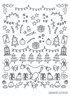 These Christmas borders are amazing for my Bullet Journal! - These Christmas borders are amazing for my Bullet Journal! These Christmas bo - Bullet Journal Printables, Bullet Journal Inspiration, Bullet Journals, Christmas Border, Christmas Art, Christmas Lights Drawing, Easy Christmas Drawings, Christmas Holidays, Christmas Graphics