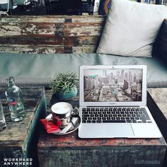 Freelancer and blogger Mike @mikevanbee is relaxing drink a cup of joe and working on some graphical stuff at Café BLVD in Venlo Netherlands #workhardanywhere ---- Use our app to find spaces like these to work from. ----  by: @mikevanbee Wallpaper collab with: @codytatman