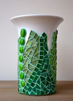 Mosaic vase, green glass mosaic