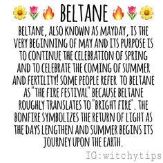 Beltane, the next sabbat, is coming up quickly. It is on May 1st! ✨🔥✨ Green Witchcraft, Wicca Witchcraft, Wiccan Sabbats, Paganism, Fire Festival, Celtic Festival, Modern Witch, Beltane, Kitchen Witch