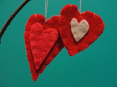 Felt hearts, kid made, perfect for a Valentine tree.